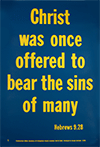 Scripture Poster: Christ was once offered to bear the sins of many. Hebrews 9:28 by TBS
