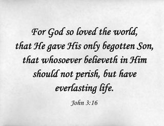"Small Frameable 11"" x 8.5"" John 3:16 Calligraphy Text: ""For God so loved the world . . . ."" Entire verse. by ShareWord Wall Witness, King James Version"