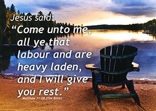 "7"" x 5"" Small Frameable Text Card: (Lakeside Sunset) Come unto me . . . . Matthew 11:28 (complete) by IBH"