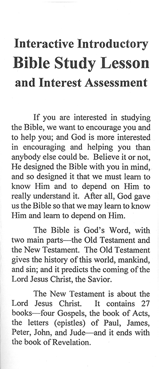Interactive Introductory Bible Study Lesson and Interest Assessment