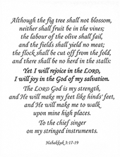 "Small Frameable 8.5"" x 11"" Habkkuk's Hymn Calligraphy Text: Although the fig tree . . . . Habakkuk 3:17-19 Full three verses. by ShareWord Wall Witness, King James Version"