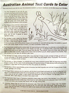 Australian Animal Text Cards to Color: Verses on the Bible by Vivian Gunderson